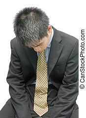 depresso, uomo affari, giovane, asiatico