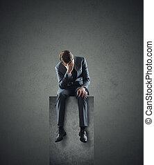 depresso, uomo affari