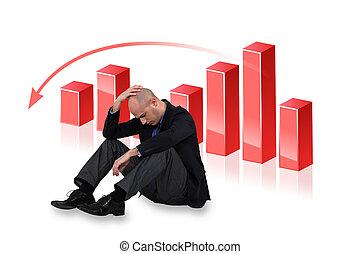 depresso, uomo affari, verso il basso, grafico