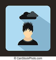 depresso, uomo, con, nube scura, sopra, suo, testa, icona