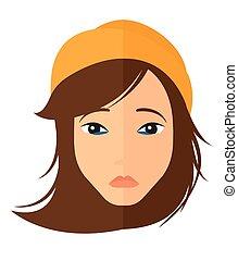 depresso, woman., giovane