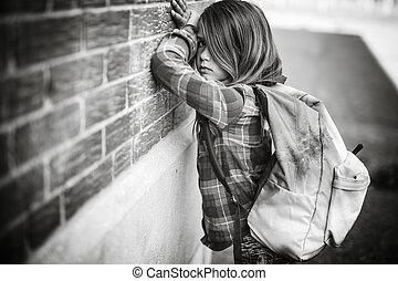 deprima, escola, estudante primário