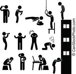 deprima, suicídio, pessoas, triste, matança, homem
