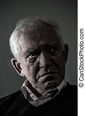 deprimido, antigas, chorando, homem
