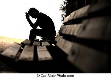 deprimido, banco, homem jovem, sentando