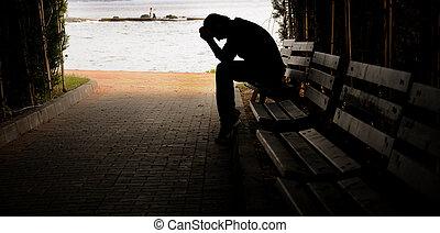 deprimido, banco, joven, sentado
