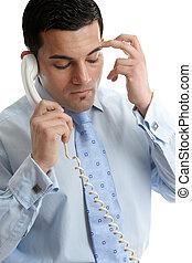 deprimido, chamada, homem negócios, fazer, incomodado, ou