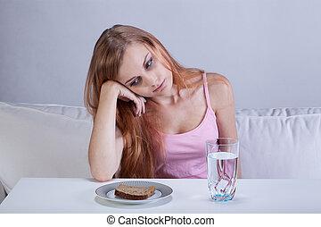 deprimido, desordem, menina, comer
