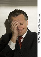 deprimido, hombre de negocios