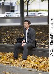 deprimido, homem, em, a, parque