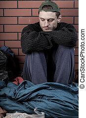 deprimido, lar, sem, homem