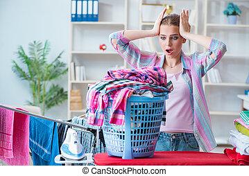 deprimido, lavanderia, dona de casa, cansadas