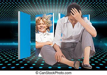 deprimido, mão, tecnológico, fundo, glowing, cabeça, executiva, entrada, contra, sentando