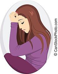 deprimido, menina, triste