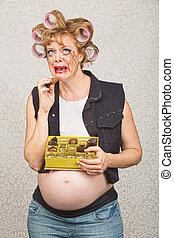 deprimido, mujer, embarazada