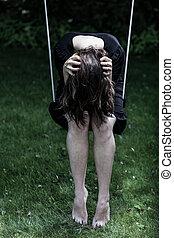 deprimido, mulher, balanço