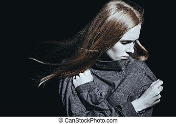 deprimido, mulher, desordem, mental