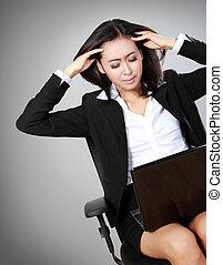 deprimido, mulher, escritório