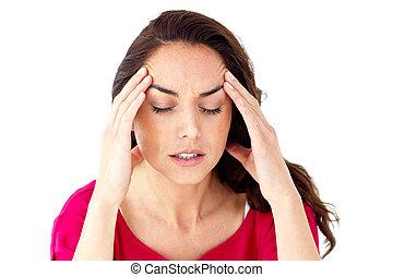 deprimido, mulher hispânica, tendo, um, dor de cabeça