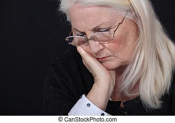 deprimido, mulher, idoso