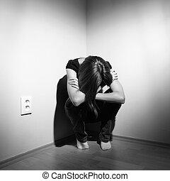 deprimido, mulher, jovem