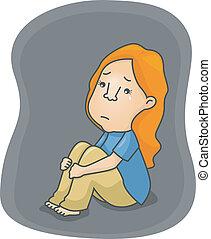 deprimido, niña