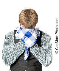 deprimido, ou, homem doente, com, lenço
