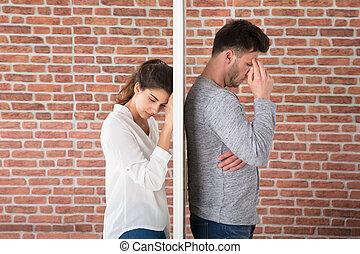 deprimido, par, jovem