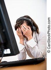 deprimido, pessoa, frustrado, negócio