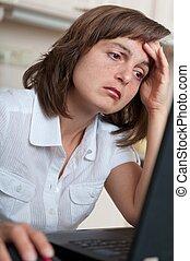 deprimido, pessoa, trabalho, negócio, cansadas