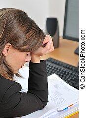 deprimido, pessoa, trabalho, negócio, dor de cabeça