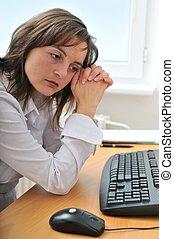 deprimido, pessoa, trabalho, negócio