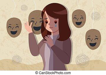 deprimido, problema, mujer