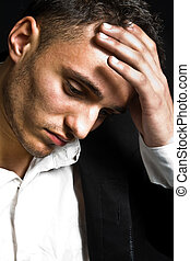 deprimido, retrato, hombre, joven, triste