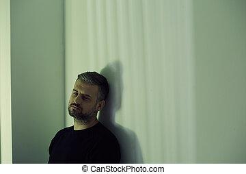 deprimido, só, homem