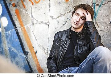 deprimido, túnel, dentro, adolescente, sujo
