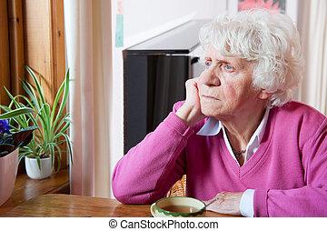 deprimido, tabela, mulher, idoso, sentando