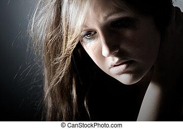 deprimido, tiro, llave baja, adolescente