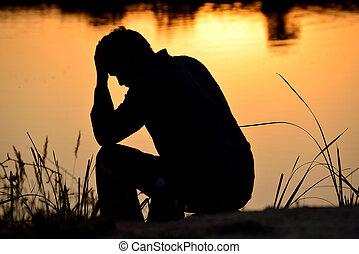 deprimido, topo, mãos, assento homem