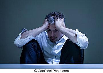 deprimido, trabalho, homem