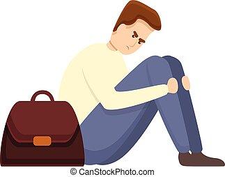 deprimiert, arbeitslos, ikone, mann, stil, karikatur