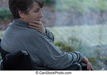 deprimiert, behinderten, frauen