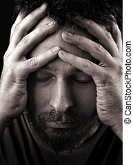 deprimiert, einsam, traurige , mann