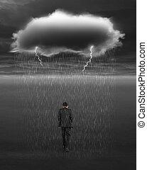 deprimiert, geschäftsmann, gehen, mit, dunkle wolke, von, regen, und, lightn