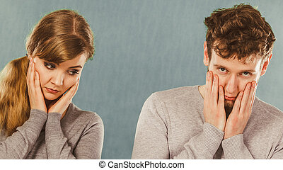 deprimiert, paar, portrait., traurige