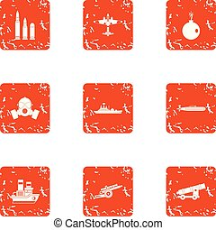 Deprivation icons set, grunge style - Deprivation icons set....