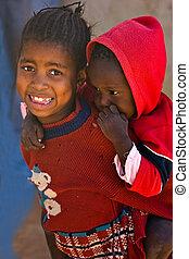 African children - Deprived African children, village near...