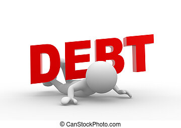 """Dept - 3d people - man, person and word """"debt"""" on his back...."""