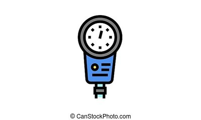 depth gauge animated color icon. depth gauge sign. isolated on white background