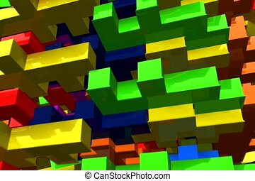depth, multi-colored, block
